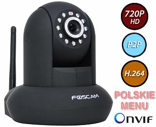 Kamera IP Foscam FI9821P - 1Mpix, audio, WiFi, P2P, podczerwień, obrotowa (Pan/Tilt)