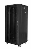 """Szafa rack Lanberg 19"""" 27U/600x600mm drzwi szklane, stojąca, czarna (FF01-6627-12B)"""