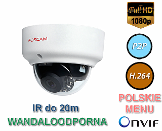 Kamera IP Foscam FI9961EP - 2Mpix, PoE, P2P, podczerwień, slot SD, wandaloodporna IK10