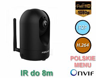 Kamera IP Foscam R2 - 2Mpix, audio, WiFi, P2P, podczerwień, WDR, obrotowa (Pan/Tilt) - czarna
