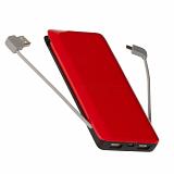 Powerbank Maclean MCE140 BR 8000mAh, czarno-czerwony, wbudowane kable, 3 USB max 2,4A