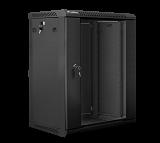 """Szafa rack Lanberg 19"""" 15U/450mm drzwi szklane, wisząca, czarna (WF01-6415-10B)"""