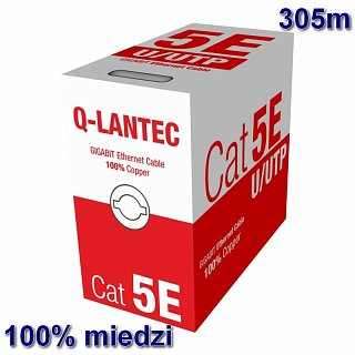 Kabel UTP Q-LANTEC kat. 5e 305m - drut, 100% miedź