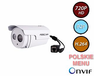 Kamera IP Foscam FI9803EP - 1Mpix, PoE, P2P, podczerwień - biała