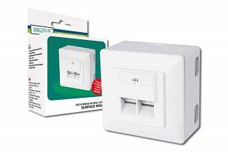 Gniazdo 2xRJ45 Digitus, natynkowe/podtynkowe, białe, ekranowane kat.6