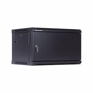 """Szafa rack Linkbasic 19"""" 6U/450mm drzwi metalowe, wisząca, czarna (WCB06-645-AAA-C)"""