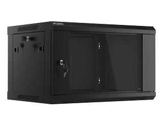 """Szafa rack Lanberg 19"""" 6U/450mm drzwi szklane, wisząca, czarna V2 (WF01-6406-10B)"""