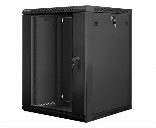 """Szafa rack Lanberg 19"""" 15U/600mm drzwi szklane, wisząca, czarna (WF01-6615-10B)"""
