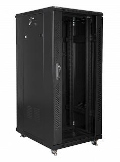 """Szafa rack Lanberg 19"""" 27U/600x800mm drzwi szklane, stojąca, czarna (FF01-6827-12B)"""
