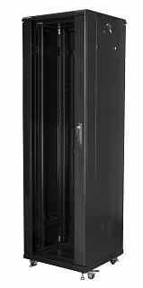 """Szafa rack Lanberg 19"""" 42U/600x600mm drzwi szklane, stojąca, czarna (FF01-6642-12B)"""