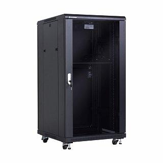 """Szafa rack Linkbasic 19"""" 22U/600x600mm drzwi szklane, stojąca, czarna (NCE22-66-BAA-C)"""