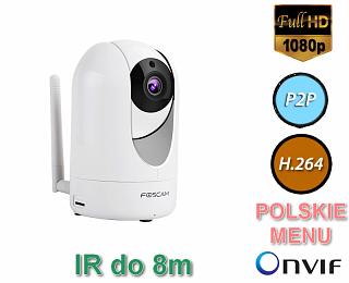 Kamera IP Foscam R2 - 2Mpix, audio, WiFi, P2P, podczerwień, WDR, obrotowa (Pan/Tilt)