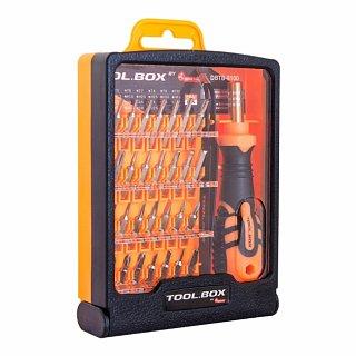 Zestaw bitów 4mm TOOL.BOX DBTB-8100 (30 elementów, rękojeść, pęseta)