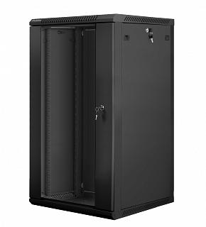 """Szafa rack Lanberg 19"""" 22U/600mm drzwi szklane, wisząca, czarna (WF01-6622-10B)"""