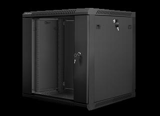 """Szafa rack Lanberg 19"""" 12U/600mm drzwi szklane, wisząca, czarna (WF01-6612-10B)"""