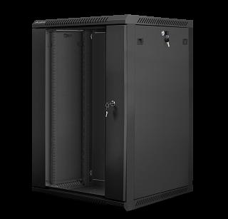 """Szafa rack Lanberg 19"""" 18U/600mm drzwi szklane, wisząca, czarna (WF01-6618-10B)"""