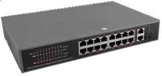 Switch PoE Pulsar SF116F1 - 18 portowy, 16 portów PoE 802.3af, 2 porty Gigabit, 1 port SFP