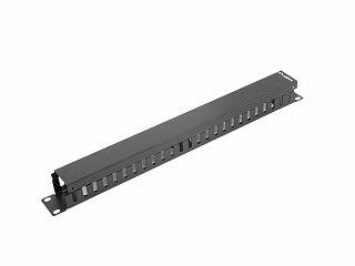 """Organizer kabli 19"""" Lanberg 1U poziomy, zamykany, czarny (AK-1201-B)"""