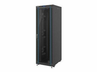 """Szafa rack Lanberg 19"""" 42U/800x1000mm drzwi szklane, wyświetlacz, stojąca, czarna (FF02-8042L-12B)"""