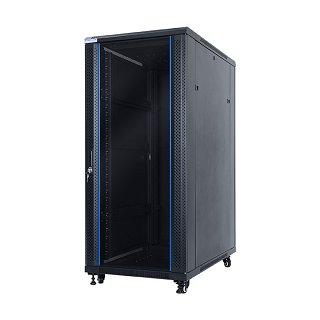 """Szafa rack START.LAN 19"""" 27U/600x1000mm drzwi szklane, stojąca, czarna (STLFSC-27U-610-GSB)"""