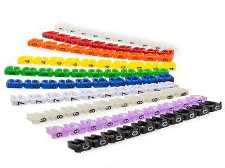 Oznaczniki kabla typu skrętka do 6mm - kolorowe - 0-9 - 100szt.