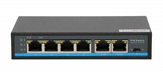 Switch PoE Extralink PALLAS V2 EX-SF1005P - 4 porty PoE, 2 porty Uplink, PoE Long Range do 250m