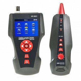 Tester okablowania RJ45 UTP/FTP, RJ11, BNC z szukaczem par, test ping, LCD Noyafa NF-8601W - 8 terminatorów