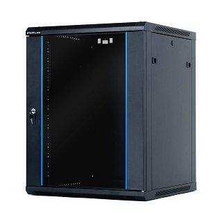 "Szafa rack START.LAN 19"" 15U/600mm drzwi szklane, wisząca, czarna (STLWMC-15U-66-GSB-C)"