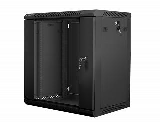 """Szafa rack Lanberg 19"""" 12U/450mm drzwi szklane, wisząca, czarna (WF01-6412-10B)"""