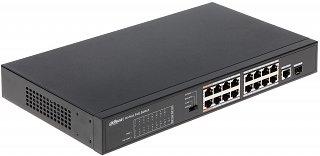 Switch PoE Dahua PFS3117-16ET-135 - 17 portowy, 16 portów PoE 802.3af/at, 1 port Combo (RJ45/SFP)