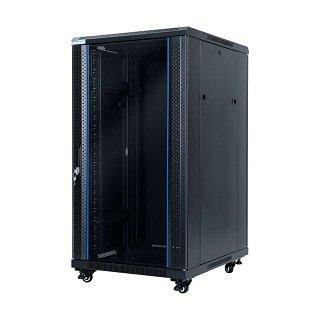 """Szafa rack START.LAN 19"""" 22U/600x800mm drzwi szklane, stojąca, czarna (STLFSC-22U-68-GSB)"""