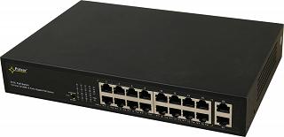Switch PoE Pulsar S116 - 18 portowy, 16 portów PoE 802.3af, 2 porty Gigabit