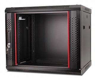 """Szafa rack GetFort 19"""" 9U/450mm drzwi szklane, wisząca, czarna (WGB09-64EH-WGB)"""