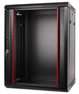 """Szafa rack GetFort 19"""" 15U/600mm drzwi szklane, wisząca, czarna (WGF15-66EH-WGB)"""