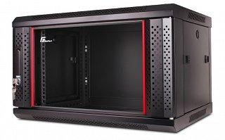 """Szafa rack GetFort 19"""" 6U/600mm drzwi szklane, wisząca, czarna (WGB06-66EH-WGB)"""