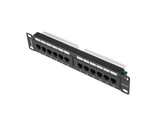 "Patch panel UTP 10"" Lanberg 12 portów kat.5e czarny (PPU5-9012-B)"