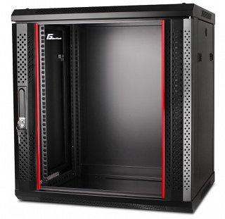 """Szafa rack GetFort 19"""" 12U/450mm drzwi szklane, wisząca, czarna (WGF12-64EH-WGB)"""