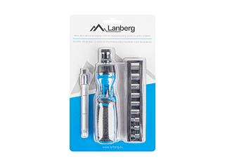 Śrubokręt z grzechotką Lanberg NT-0808 (zestaw 9 nasadek, 6 bitów, przedłużka)
