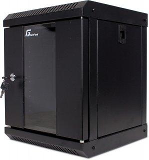 """Szafa rack GetFort 10"""" 6U/300mm drzwi szklane, wisząca, czarna (WGF06-33EH-WGB)"""