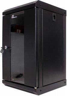 """Szafa rack GetFort 10"""" 9U/300mm drzwi szklane, wisząca, czarna (WGF09-33EH-WGB)"""