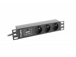 """Listwa zasilająca do szafy rack 10"""" Lanberg - 3 gniazda - wtyk IEC - 2m (PDU-03E-0200-IEC-BK)"""